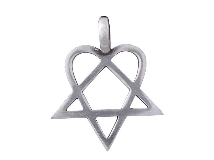 PENTAGRAM / HEARTAGRAM Pewter Pendant - style 6a